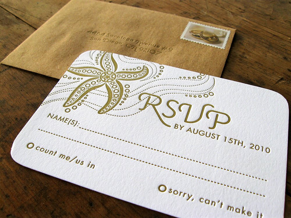 Wedding Invitation Kits Michaels: Illustration+letterpress: Starfish Wedding Kit