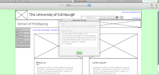 Screenshot of Mockingbird webpage prototype