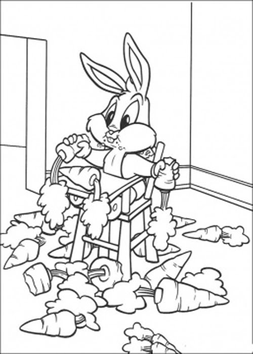 Bugs Bunny With Carrot Coloring Pages