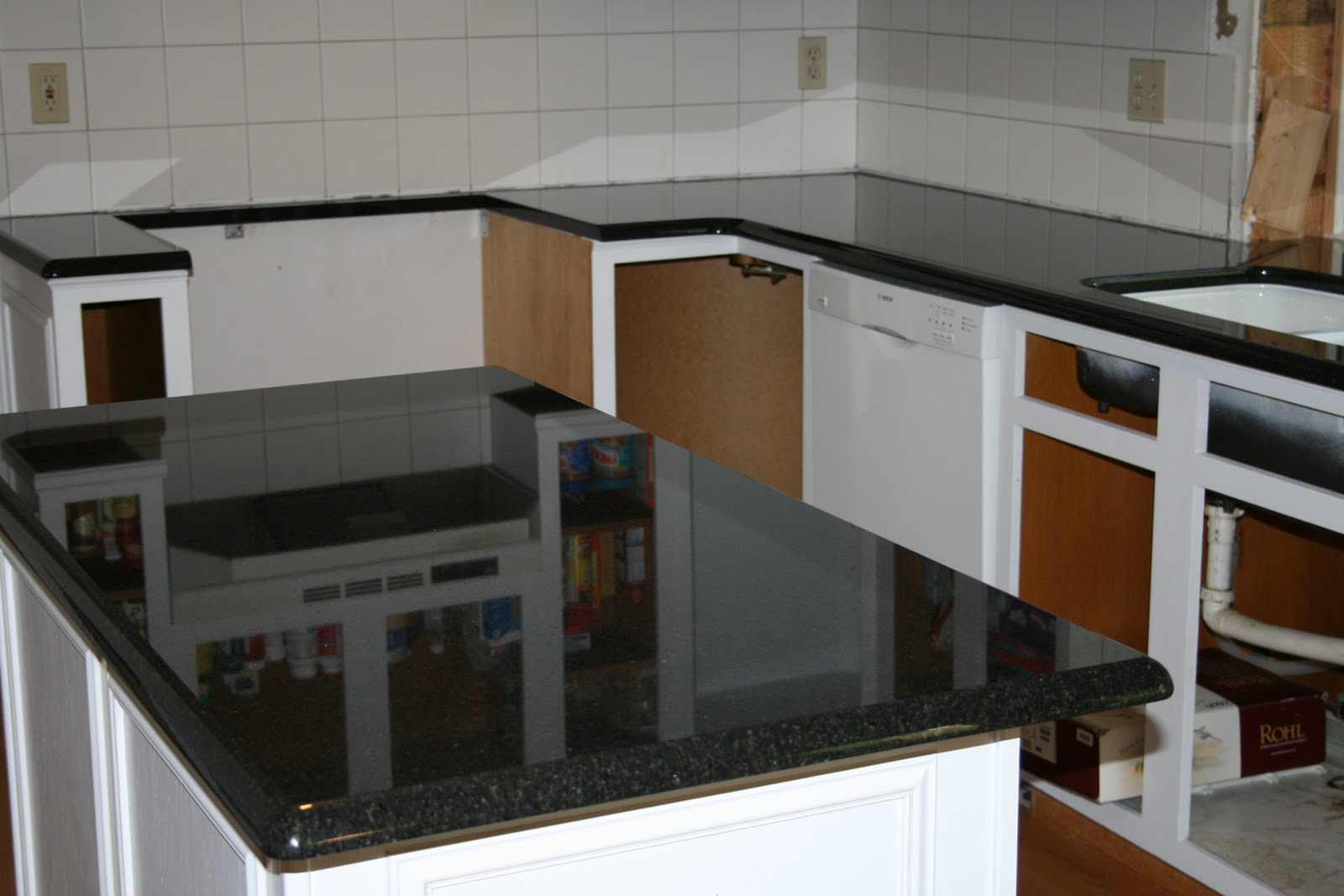 Black Pearl Granite with White Cabinets