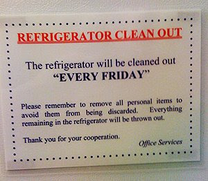 Clean Out Refrigerator Sign Fridge