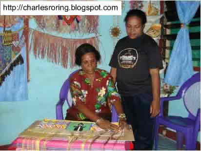 Ms. Marice Fonataba was making sireo - a ceremonial skirt.