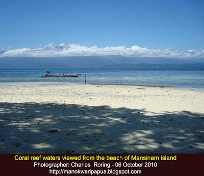 The beach of Mansinam island in Manokwari