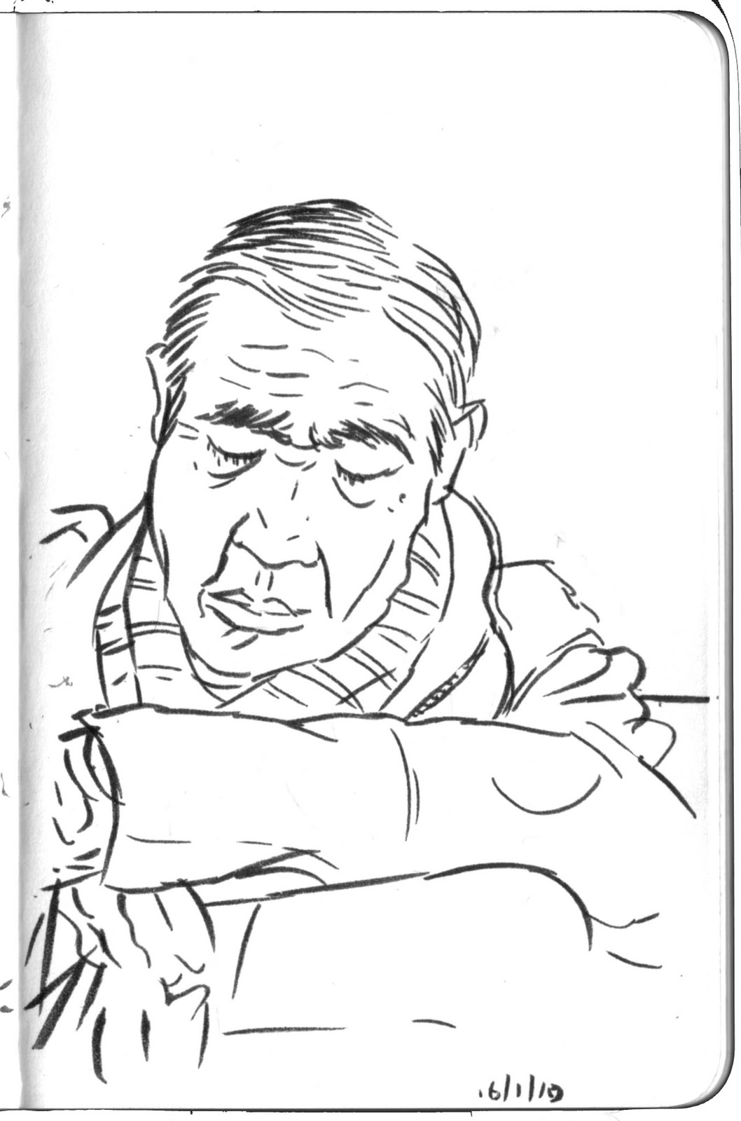 Urban Sketchbook: Sleeping Man on Train from Funabashi