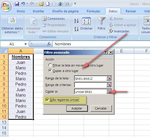 Filtro Avanzado – valores únicos en otra hoja ~ JLD Excel en ...