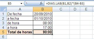 Calcular con Excel horas trabajadas con intervalos ~ JLD Excel en ...