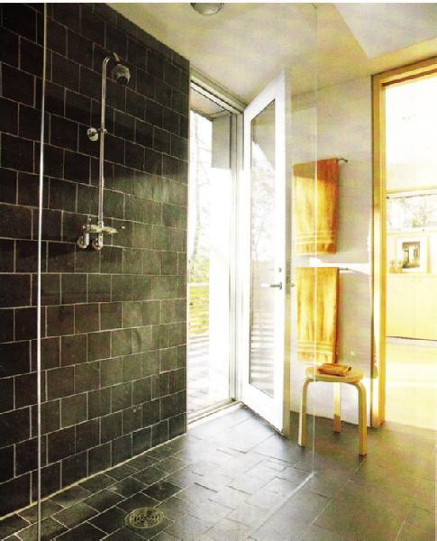 Black White Yellow Bathroom: Tile Bathroom Yellow White Black Shower
