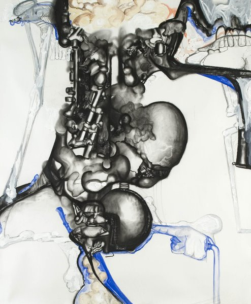 Probir Gupta  His Master Voice II, 2008 Watercolour, acrylic, ironoxides and charcoal on paper 189 x 160 cm