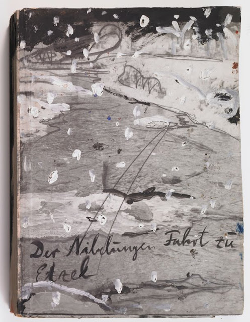Anselm Kiefer The Journey of the Nibelungen to Etzel, 1980-81 Book of gelatin silver prints with gouache, oil, and graphite mounted on cardboard open: 23-1/16 x 32-11/16 inch