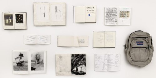 Douglas Gordon Memoirs, 1988-1990 Ten sketchbooks and backpack