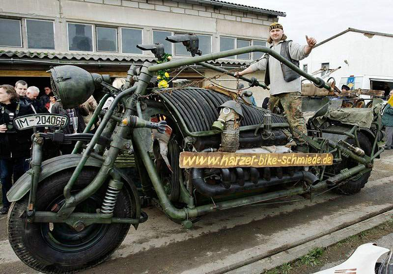 German Monster Bike with engine of a Russian T55 tank
