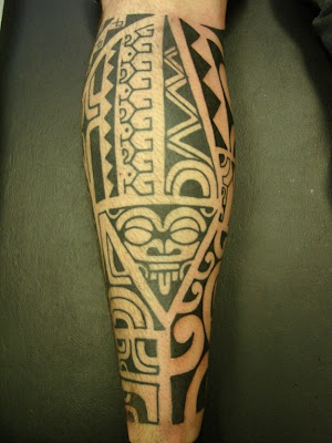 Tattooed Polynesian man. Early Islanders used body art to express social and
