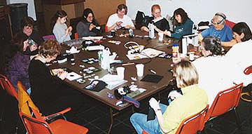 9-11 Bead Quilt, assembly group in Seattle
