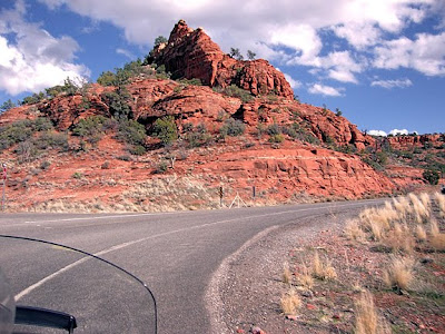 red rocks as seen from the motorcycle