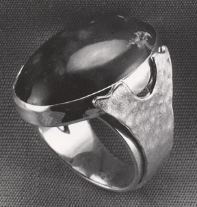 Silver ring with cabochon by Robin Atkins