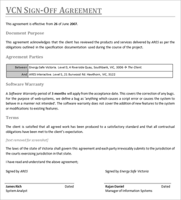 project sign off template Project Management for the Web: Sign-off Agreements