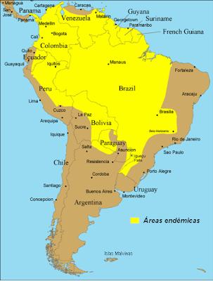 Distribución de Fiebre Amarilla en América Central y del Sur (en amarillo)