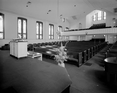 Ebenezer Baptist Church, Interior, view from behind pulpit