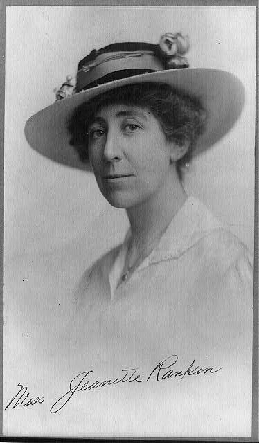 Women's History Month Jeannette Rankin, Library of Congress, Prints & Photographs Division, [reproduction number, LC-USZ62-8422