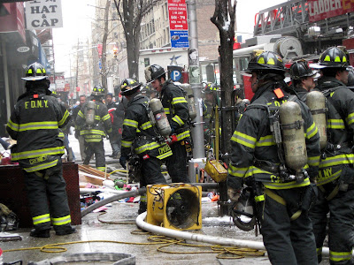 New York City Fire Fighters Fighting Fire