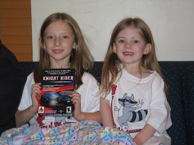 Mandi and Kimmie excited about Mandi's Knight Rider game for the PC