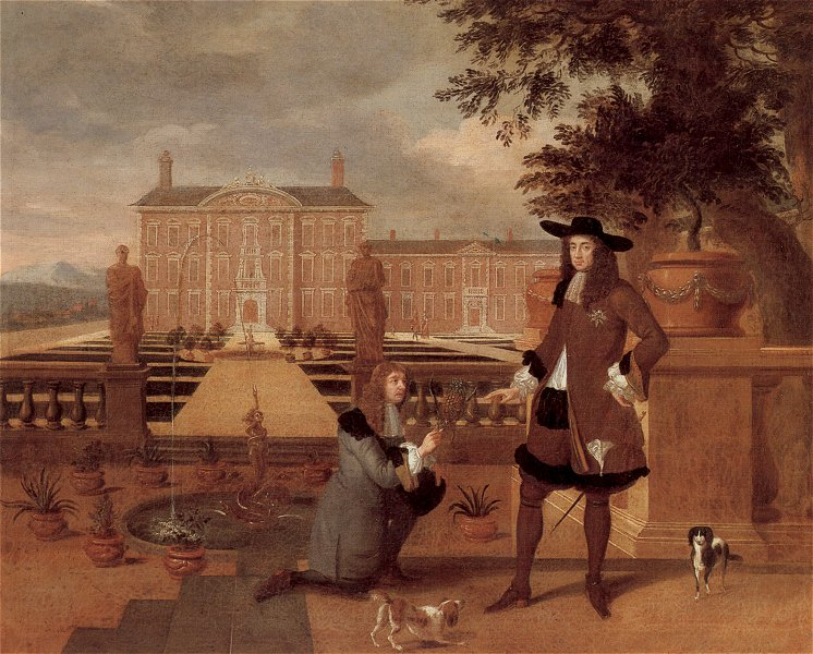 Charles II Receiving a Pineapple by Hendrik Danckerts, 1675. Copy of an original in the Royal Collection.