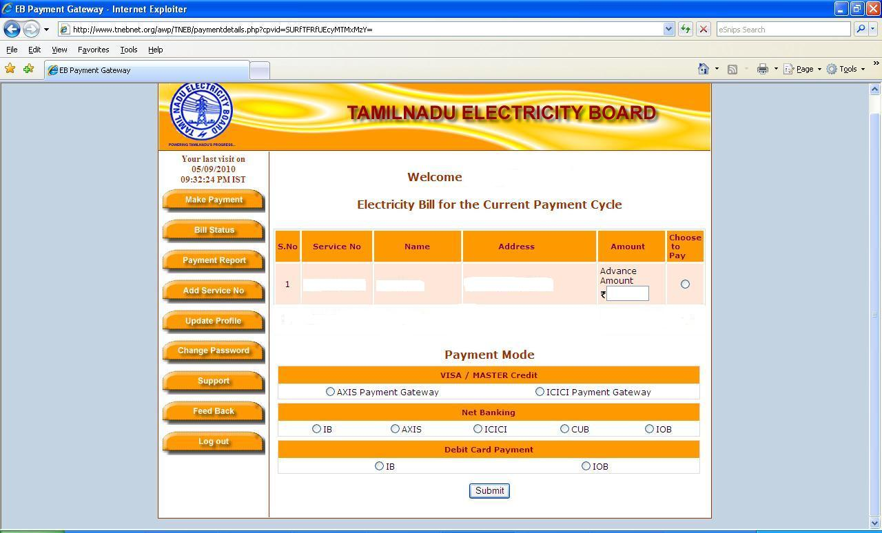 TamilNadu EB Payment through Online