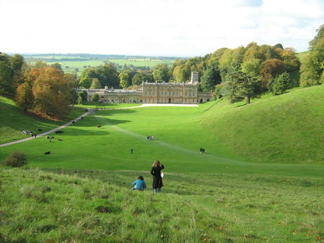 View down to the house at Dyrham Park Gloucestershire