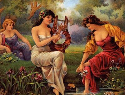 three women near a stream, one playing the lyre