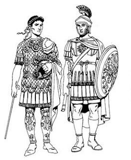 Two men dressed in ancient Greek or Roman costumes
