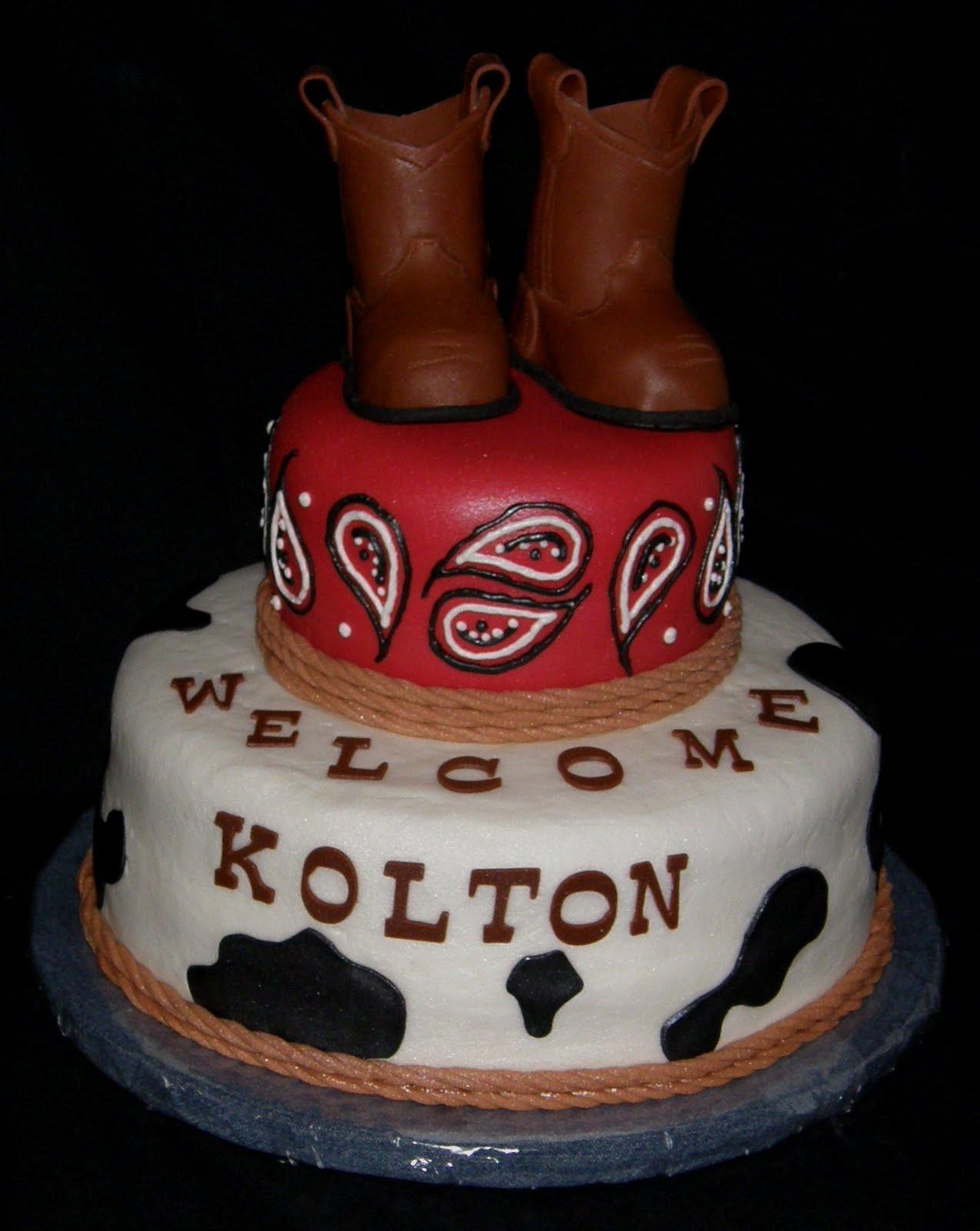 Cowboy Baby Shower Cake
