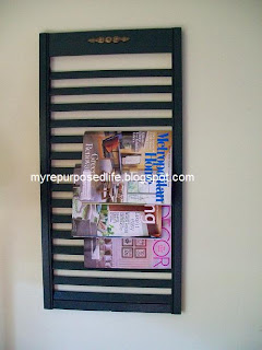 magazine rack made out of an old shutter