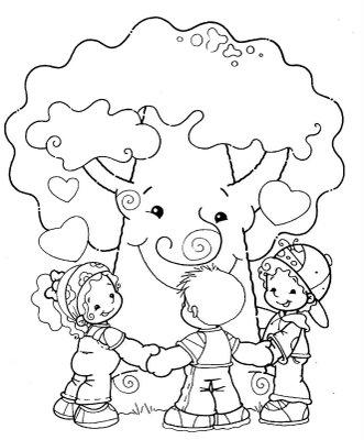 Desenho Criancas Abracando Arvore Colorir E Pintar Desenhos