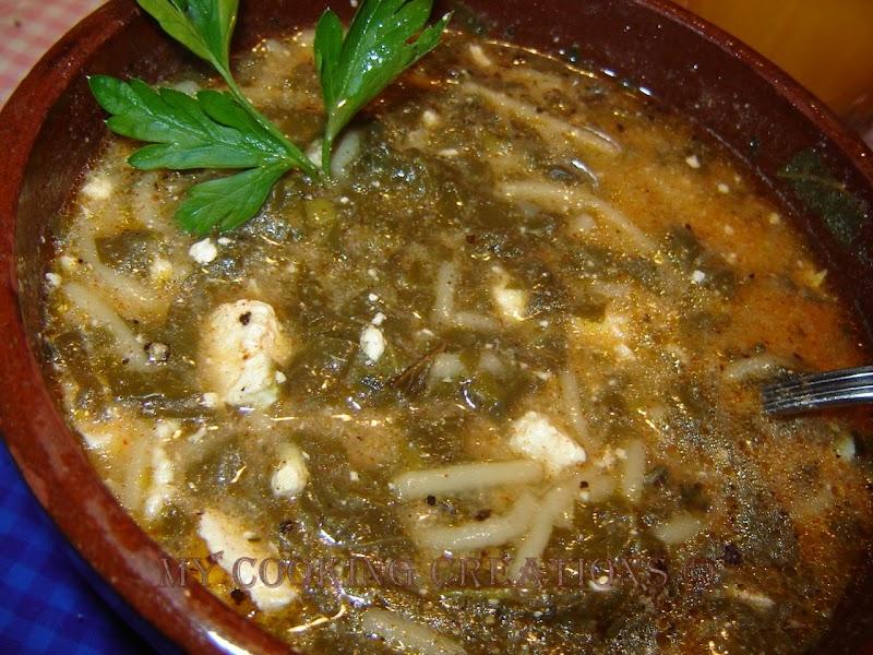 Супа от спанак със сирене и червен пипер * Zuppa di spinaci