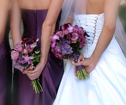 Alhamdulillah Bejo Purple And Green Wedding Bouquets