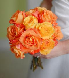 Cheerful And Bright Contemporary Wedding Bouquets Made Up Of Vibrant Orange Yellow Roses