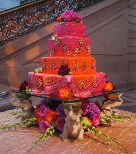Wedding Cakes Pictures Orange and Pink Wedding Cakes