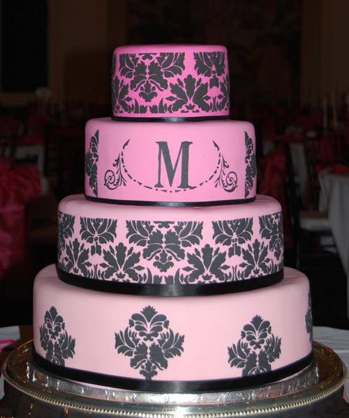 pink black and white wedding cakes with flowers wedding cakes pictures pink damask wedding cakes 18568