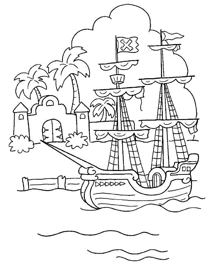 Sonhando com cores Piratas para colorir   navio pirata