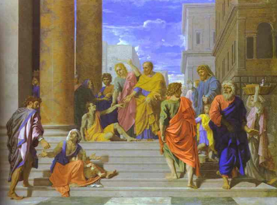 """St. Peter and St. John cure the lame man"" - Nicolas Poussin 1655"