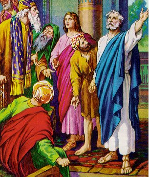 """Peter and John before the Sanhedrin"" - Artist unknown"