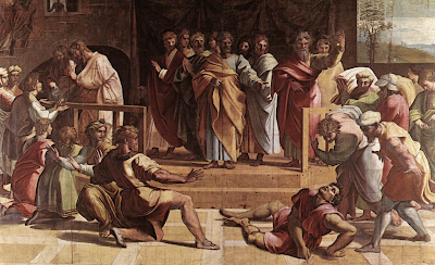"""Death of Ananias"" by Raphael"