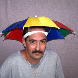 d683286dd64a3 Dudes Wearing Umbrella Hats... Posted by Some Guy on 9 21 2010