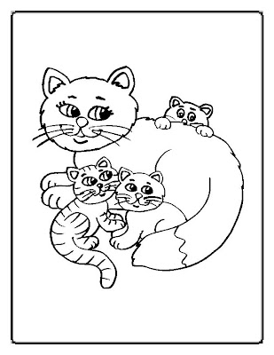 Funny Cats Family Coloring Page Coloring Pages Online