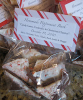 Personalize each bag of peppermint bark with a festive note.