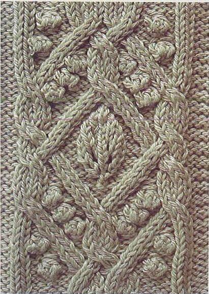 Free Knitting Patterns Ornate Cable With Leaf And Bobbles