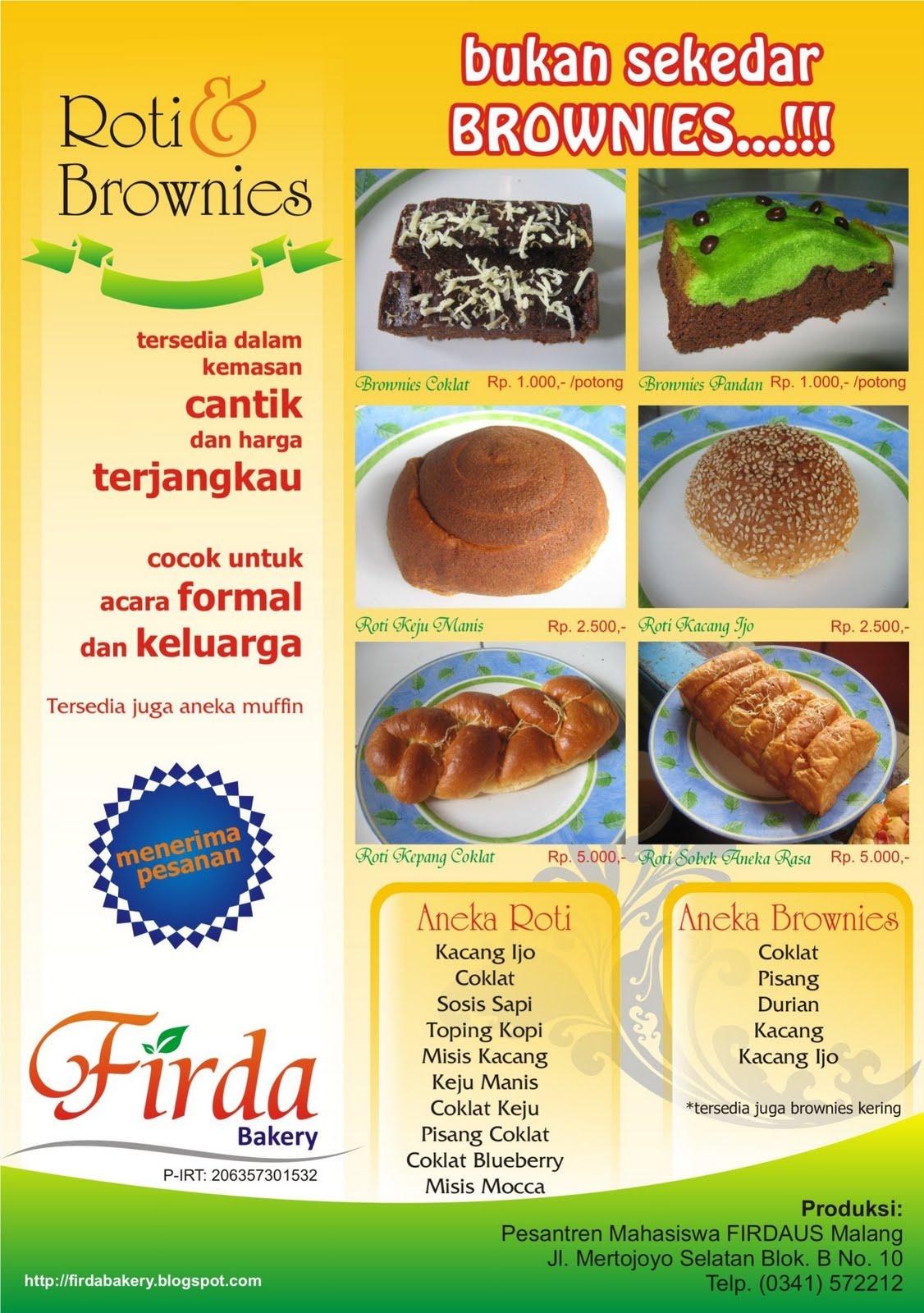 Brosur Roti Dan Brownies Firda Bakery Zlich S Blog