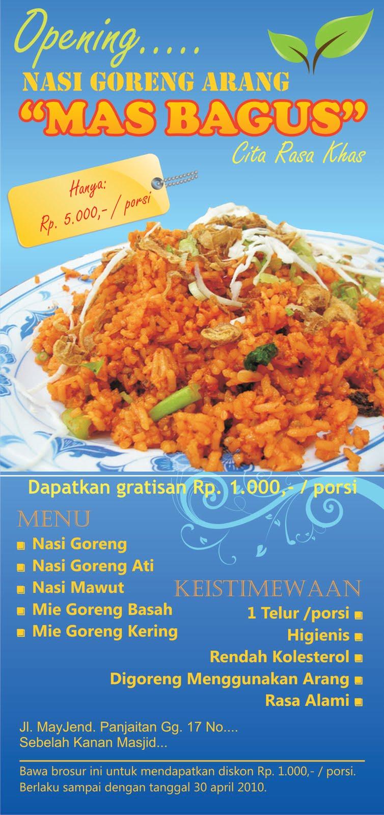 Desain Leaflet Nasi Goreng Arang Mas Bagus