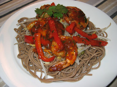 Szechuan Prawns on Soba Noodles