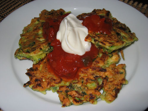 Zucchini Fritters with Salsa and Sour Cream